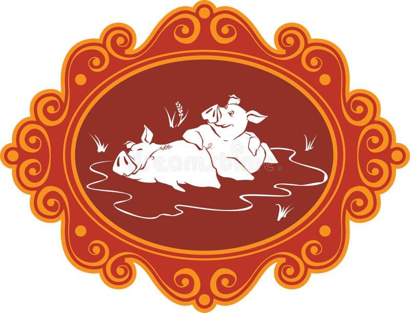 Śmieszne kreskówek świnie, prosiaczki na gospodarstwie rolnym ma zabawę, bawić się i f i, ilustracja wektor