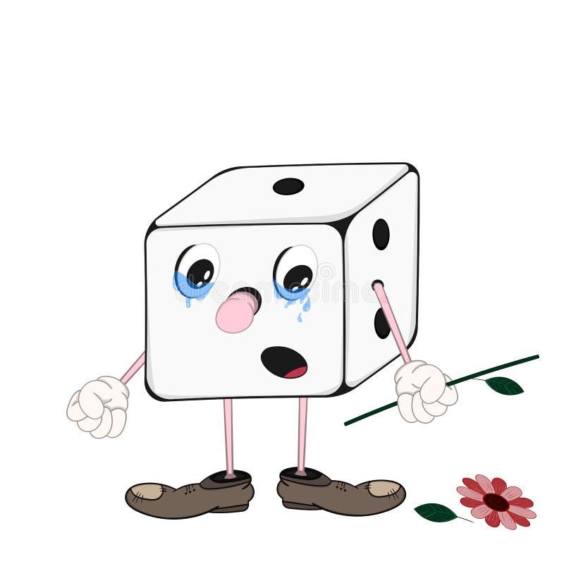Śmieszne kreskówek kostki do gry gemowe z oczami, rękami i nogami trzyma łamanego kwiatu w, ręce i płakać royalty ilustracja
