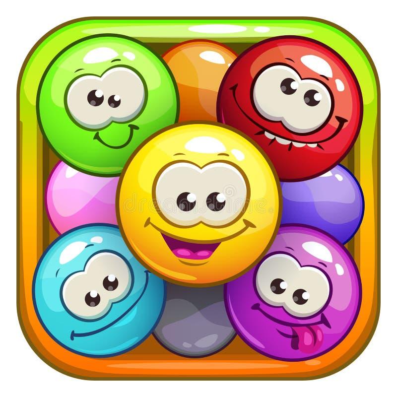 Śmieszne kreskówka kwadrata app ikony ilustracji