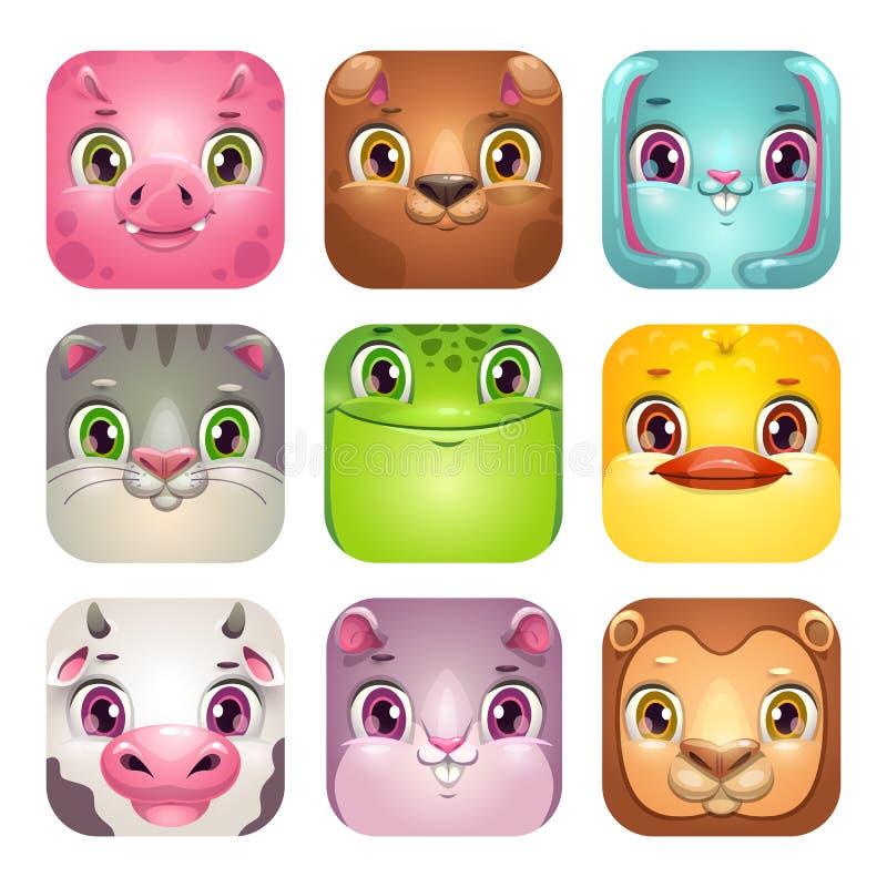 Śmieszne kreskówka kwadrata zwierzęcia twarze App ikony ustawiać dla dziecięcego gemowego logo projekta royalty ilustracja