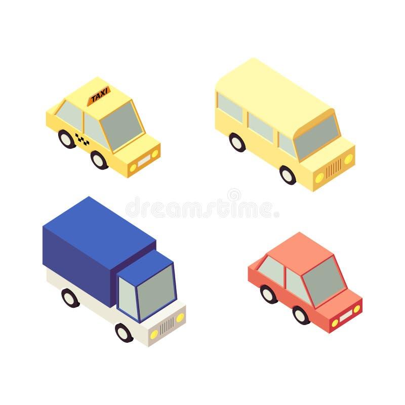 Śmieszne kreskówka samochodu ikony Mieszkania 3d miasta Isometric Wysokiej Jakości transport Sedan, taxi, autobus, ciężarówka royalty ilustracja