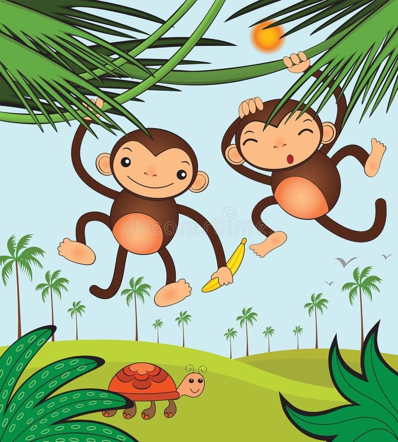 śmieszne małpy ilustracji