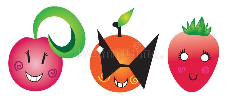 Śmieszne owoc wiśnie, pomarańcze, truskawka obraz stock