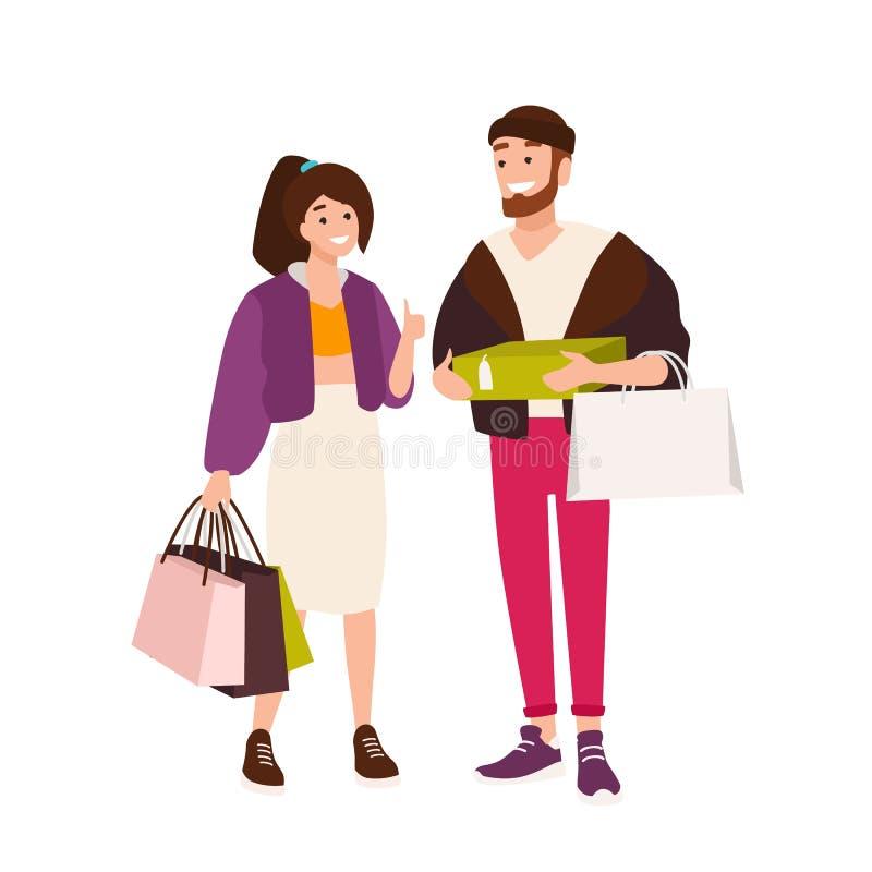 Śmieszne pary przewożenia torby na zakupy i pudełka śliczny chłopak i dziewczyna trzyma ich zakupy Para ilustracja wektor