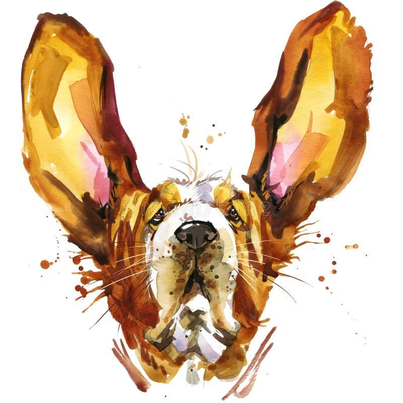 Śmieszne psie baset mody koszulki grafika Psia ilustracja z pluśnięcia akwarela textured tłem ilustracja wektor