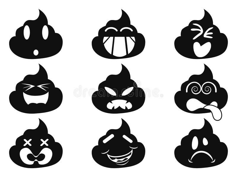 Śmieszne smiley gówna twarzy ikony ilustracji