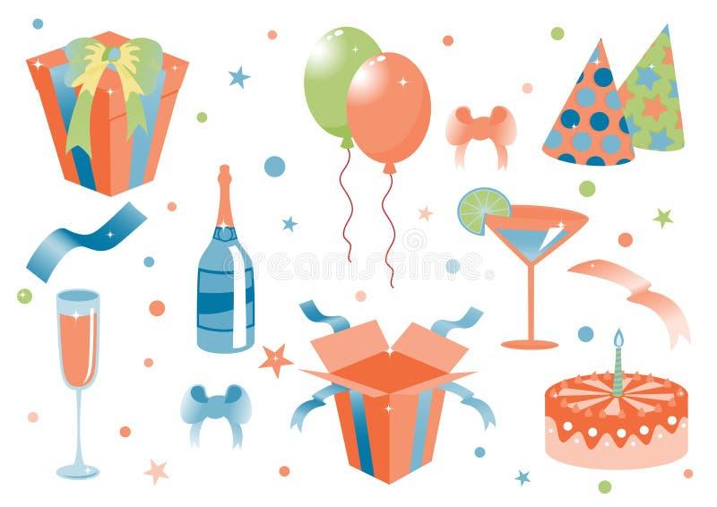 Śmieszne urodzinowe ikony ilustracja wektor