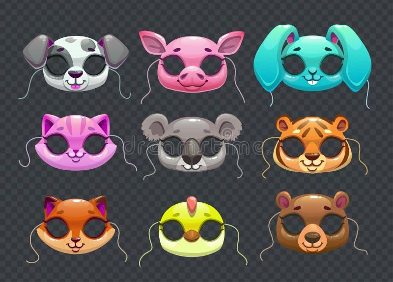 Śmieszne zwierzę maski ilustracja wektor