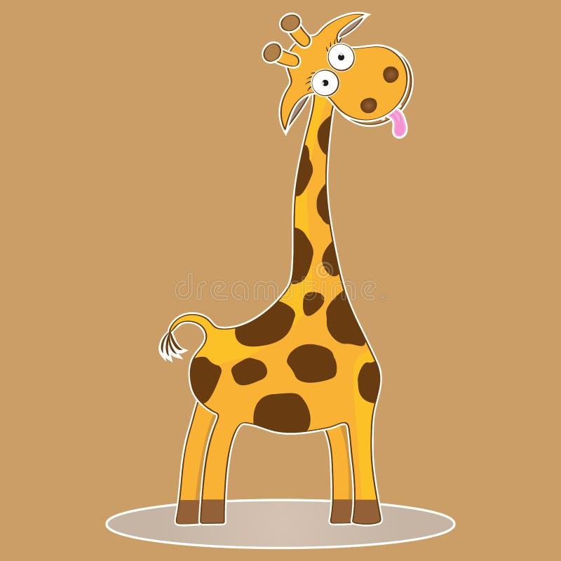 Śmiesznego ślicznego charakter kreskówki żyrafy wektorowego dzieciaka safari ilustracyjny dziki zwierzę ilustracji