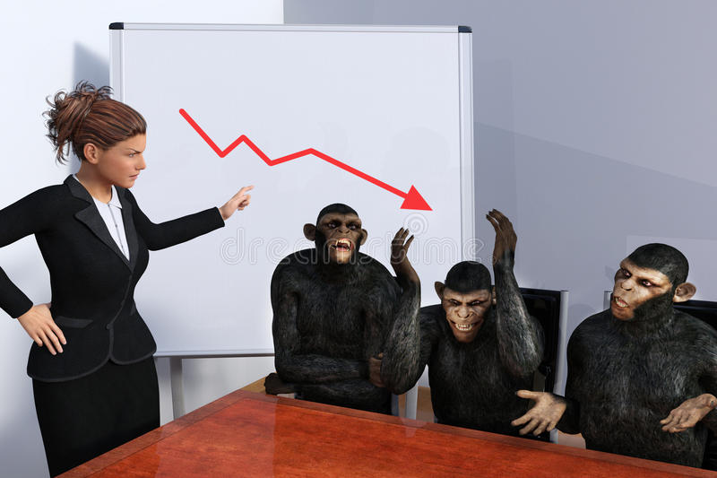Śmiesznego biznesu sprzedaże Wprowadzać na rynek spotkania ilustracji