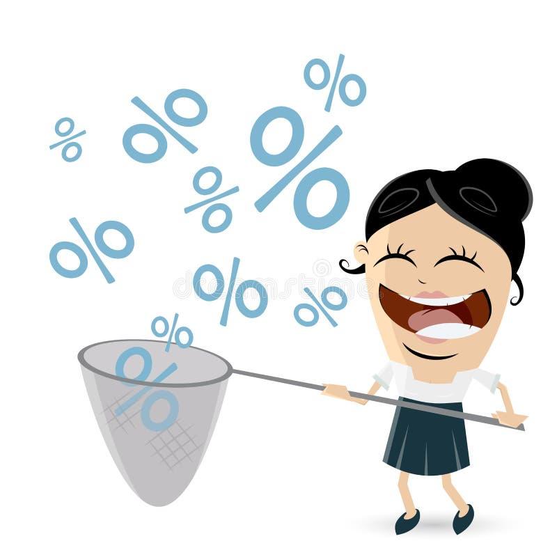 Śmiesznego bizneswomanu procentu chwytający znaki royalty ilustracja