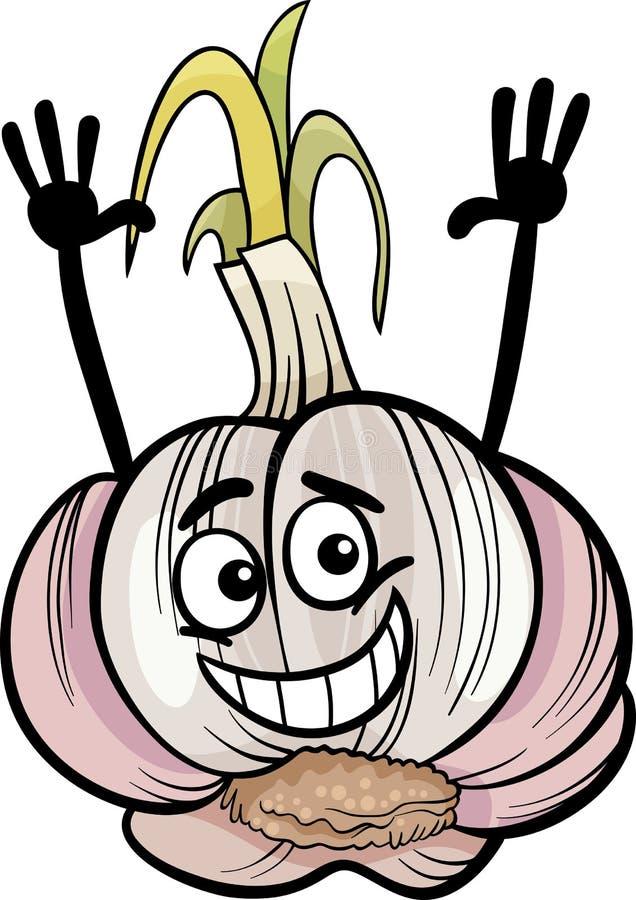 Śmiesznego czosnku kreskówki jarzynowa ilustracja ilustracji