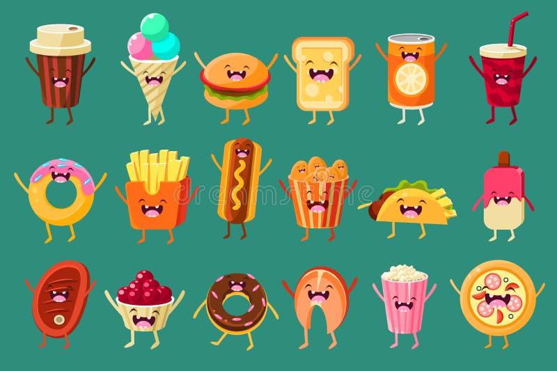 Śmiesznego fasta food komiczni charaktery sett, lody, kawa, hot dog, pizza, francuzów dłoniaki, grzanka, hamburger, miękki napój, royalty ilustracja