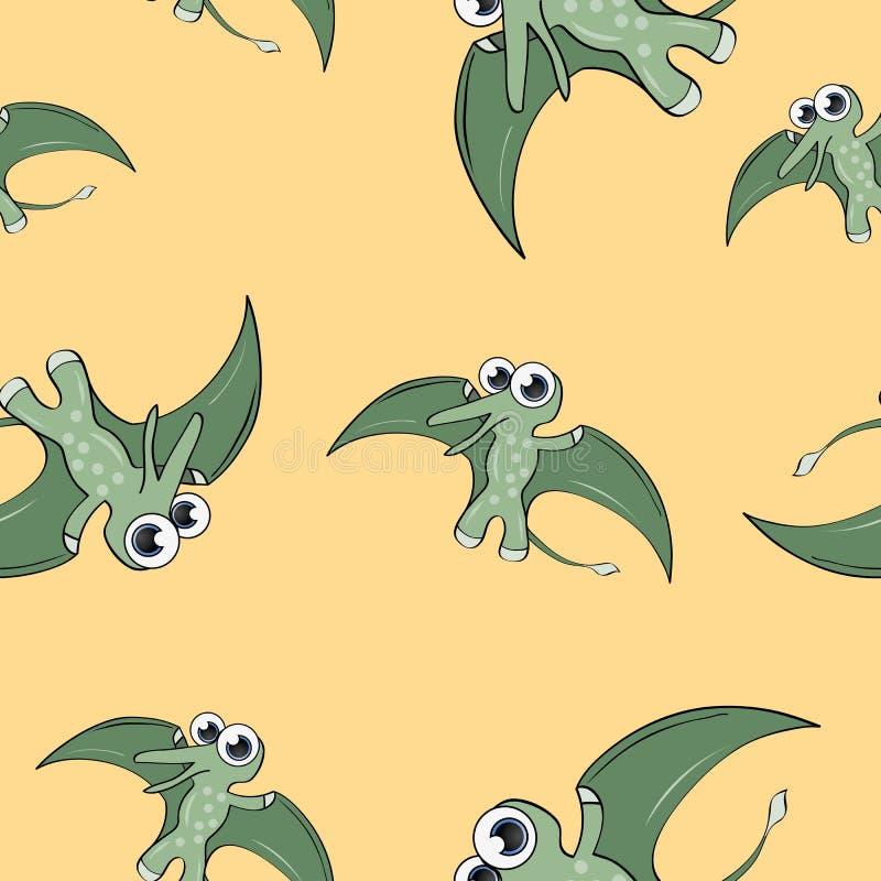 Śmiesznego kreskówka dinosaura bezszwowy wzór zdjęcia stock
