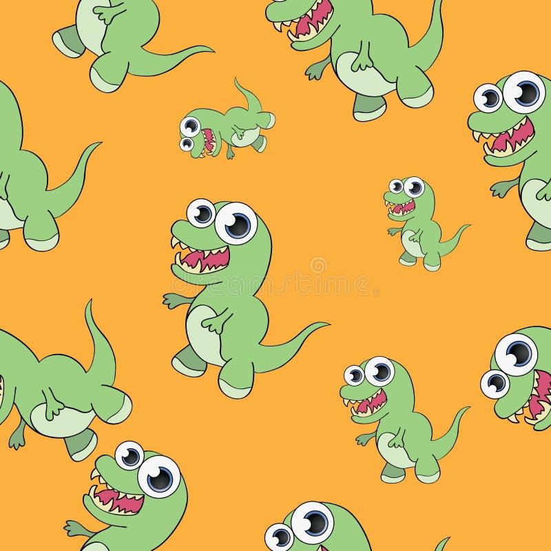 Śmiesznego kreskówka dinosaura bezszwowy wzór obrazy stock