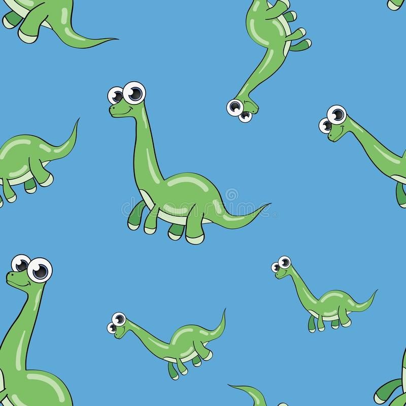 Śmiesznego kreskówka dinosaura bezszwowy wzór zdjęcia royalty free