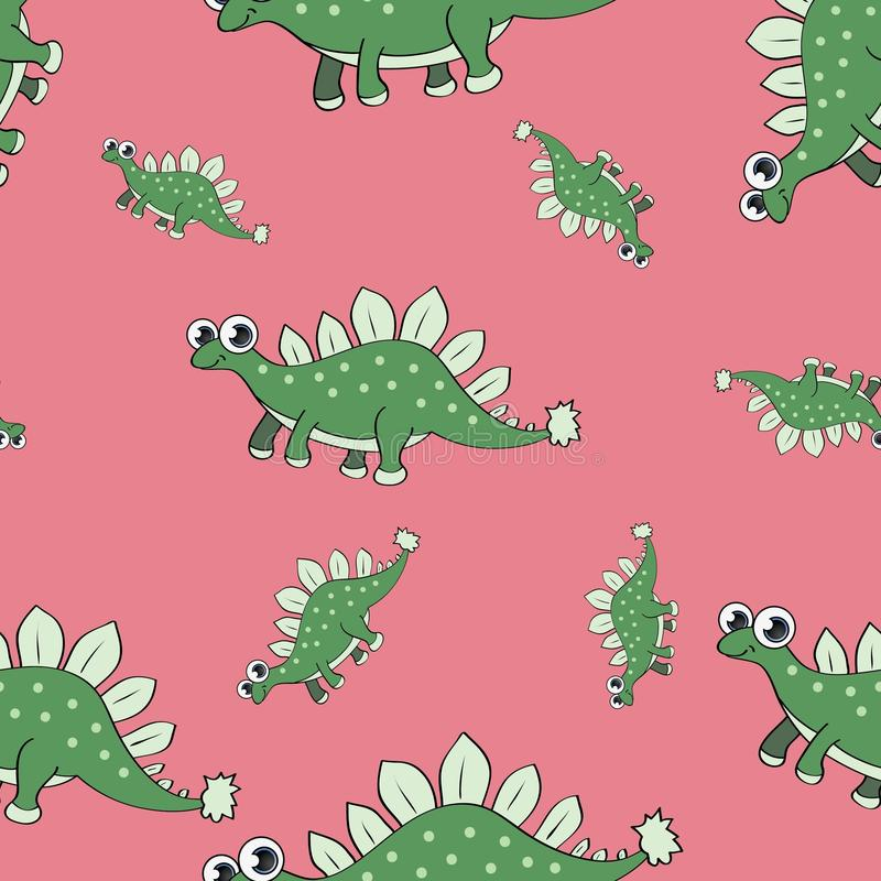 Śmiesznego kreskówka dinosaura bezszwowy wzór fotografia stock