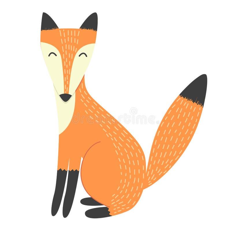 Śmiesznego lisa odosobniony element royalty ilustracja