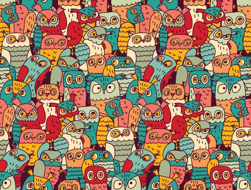Śmiesznego sowa ptaków grupy koloru bezszwowy wzór ilustracja wektor