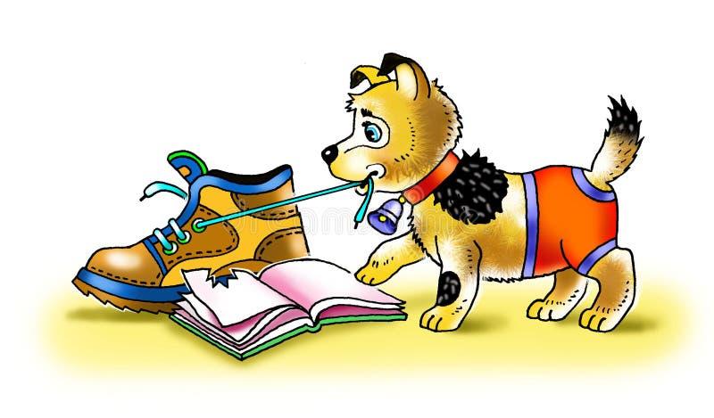 Śmiesznego szczeniaka zabawy gry ulubeni buty ilustracji