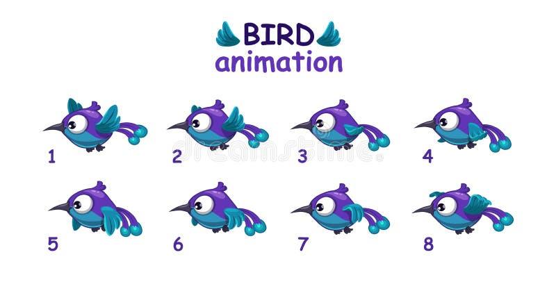 Śmiesznej błękitnej kreskówki ptasi latający sprites ilustracja wektor