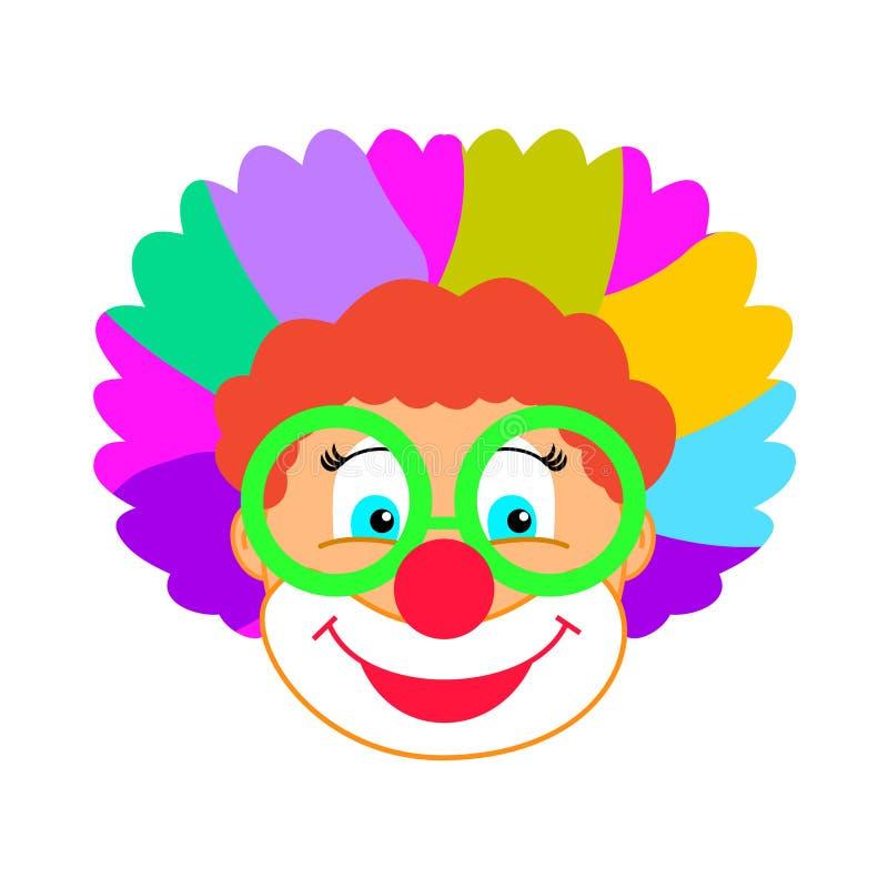 Śmiesznej błazen maski dzieciaków przyjęcia błazenu karnawałowy urodzinowy charakter odizolowywający ilustracja wektor