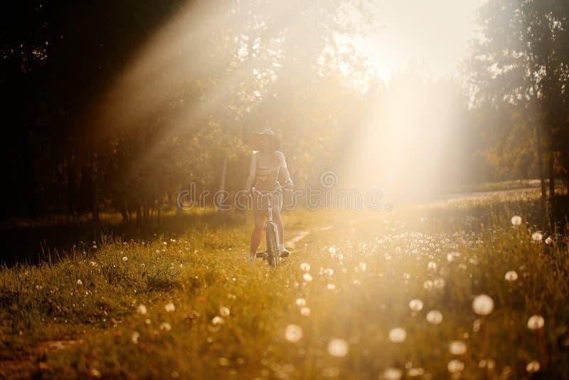 Śmiesznej dziewczyny napędowy rowerowy plenerowy Pogodny lato stylu życia pojęcie Kobieta w sukni i kapeluszu w polu z dandelions zdjęcia stock