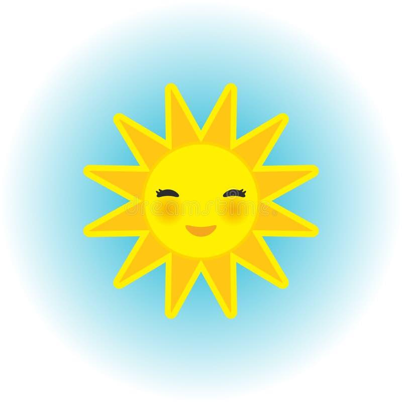 Śmiesznej kreskówki żółty słońce ono uśmiecha się z zamkniętymi oczami i różowymi policzkami na błękitnym tle wektor royalty ilustracja