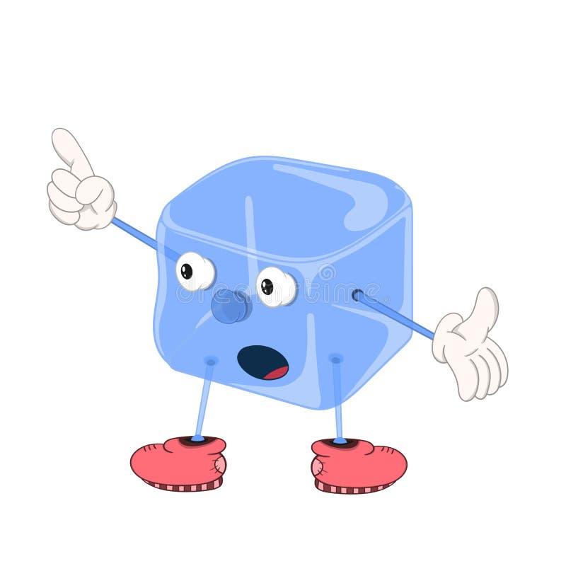 Śmiesznej kreskówki błękitny kostka lodu z oczami, rękami i ciekami w butach, pokazuje z jego palcem w górę imaginacyjnego przedm royalty ilustracja