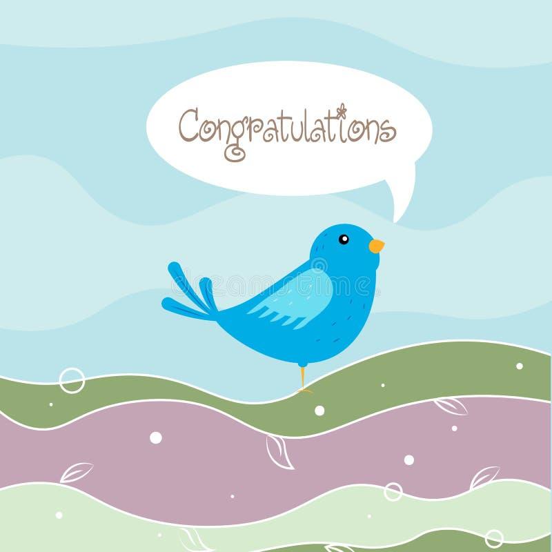 Śmiesznej kreskówki błękitny ptak w lesie z tekst gratulacjami ilustracji