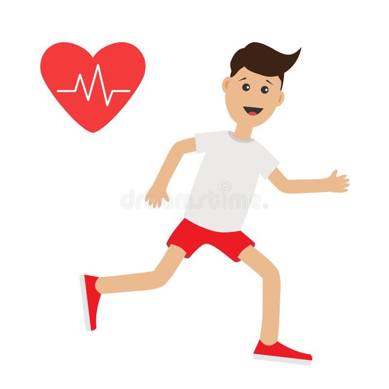 Śmiesznej kreskówki działający facet Kierowego rytmu ikony bieg Ślicznej chłopiec mężczyzna Jogging biegacz ilustracji