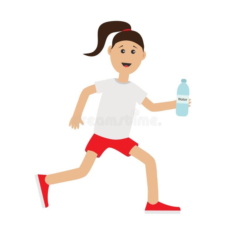Śmiesznej kreskówki dziewczyny mienia działający bidon Ślicznej bieg kobiety damy biegacza sprawności fizycznej Jogging trening b ilustracji