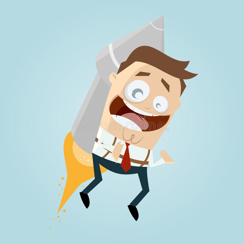 Śmiesznej kreskówki latający mężczyzna z rakietą ilustracja wektor