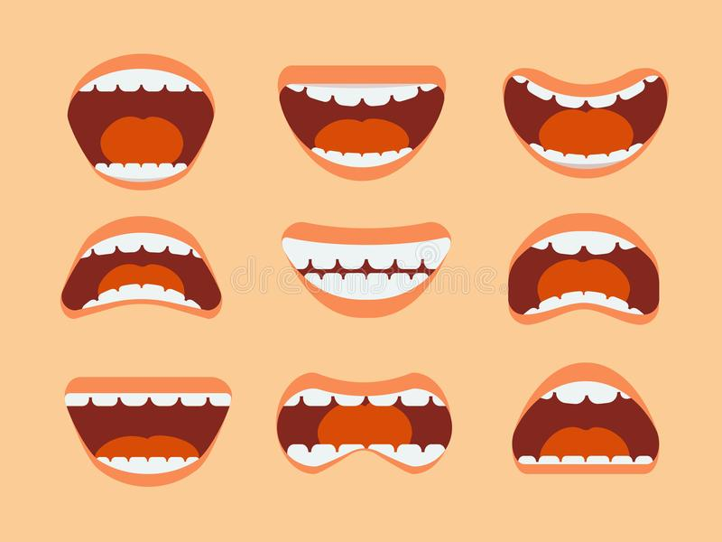 Śmiesznej kreskówki ludzki usta, zęby i jęzor z różnym wyrażenie wektorem, ustawiamy odosobnionego ilustracji