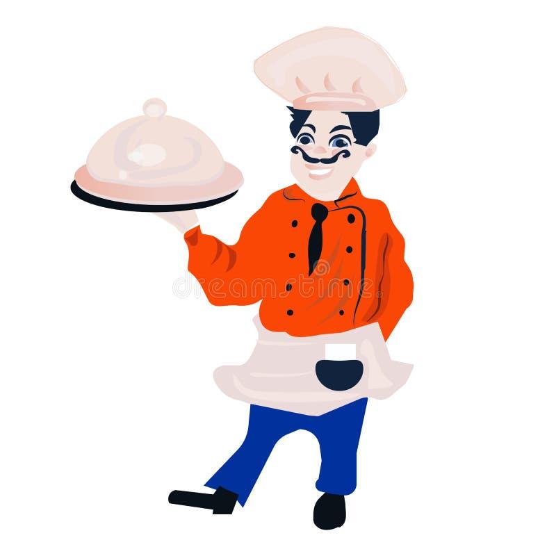 Śmiesznej kreskówki restauracyjny charakter, wesoło kucbarska ikona, odizolowywał żadny tło, szefa kuchni mężczyzna, gotuje royalty ilustracja
