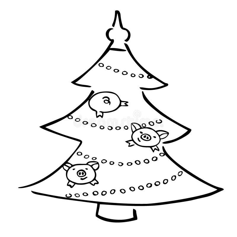 Śmiesznej kreskówki wektorowe świnie i xmas drzewo ilustracja wektor