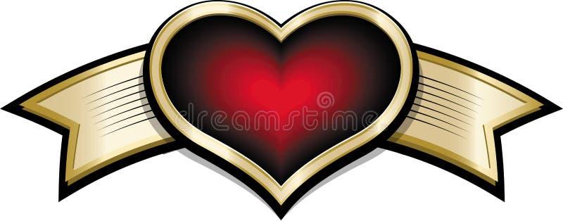 Śmiesznej kreskówki złocisty olśniewający sztandar z czerwonym purpurowym sercem ilustracja wektor