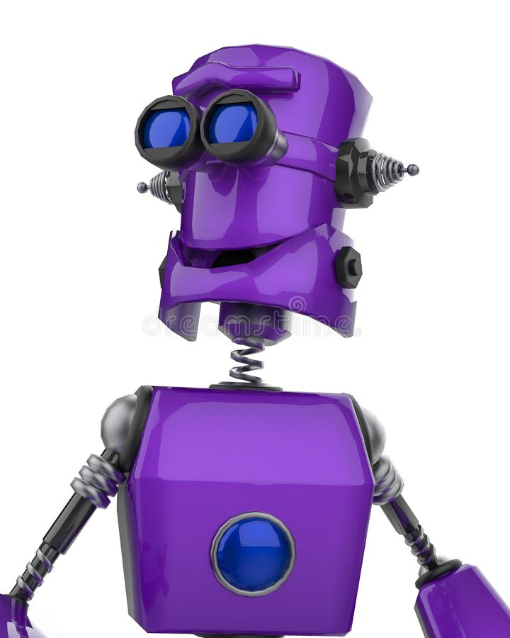 Śmiesznej purpurowej robot kreskówki uśmiechnięty potrait w białym tle ilustracja wektor