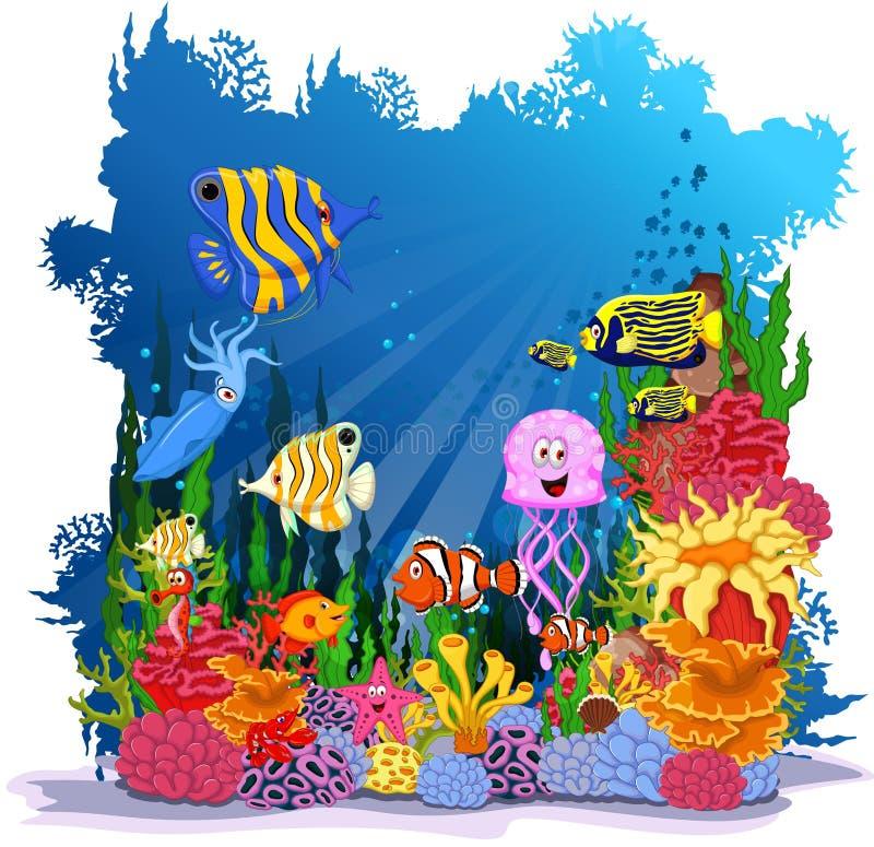 Śmiesznej rybiej kreskówki denny życie dla ciebie projektuje royalty ilustracja