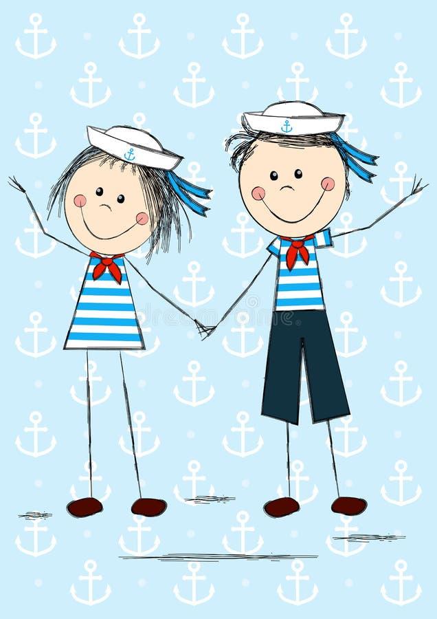 Śmieszni żeglarzów dzieciaki ilustracji
