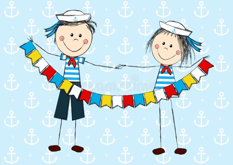 Śmieszni żeglarzów dzieciaki royalty ilustracja
