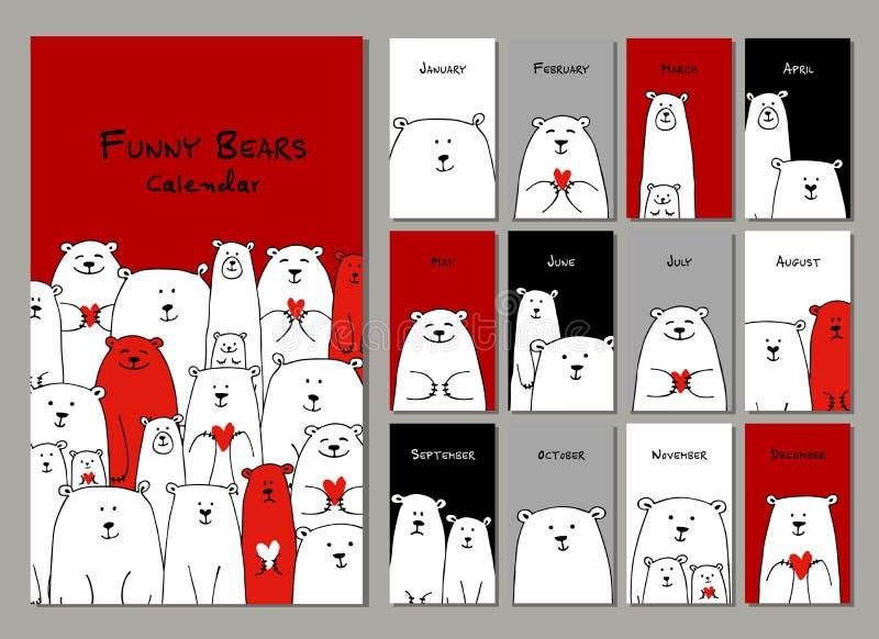 Śmieszni biali niedźwiedzie rodzinni Projekta kalendarz 2018 ilustracji