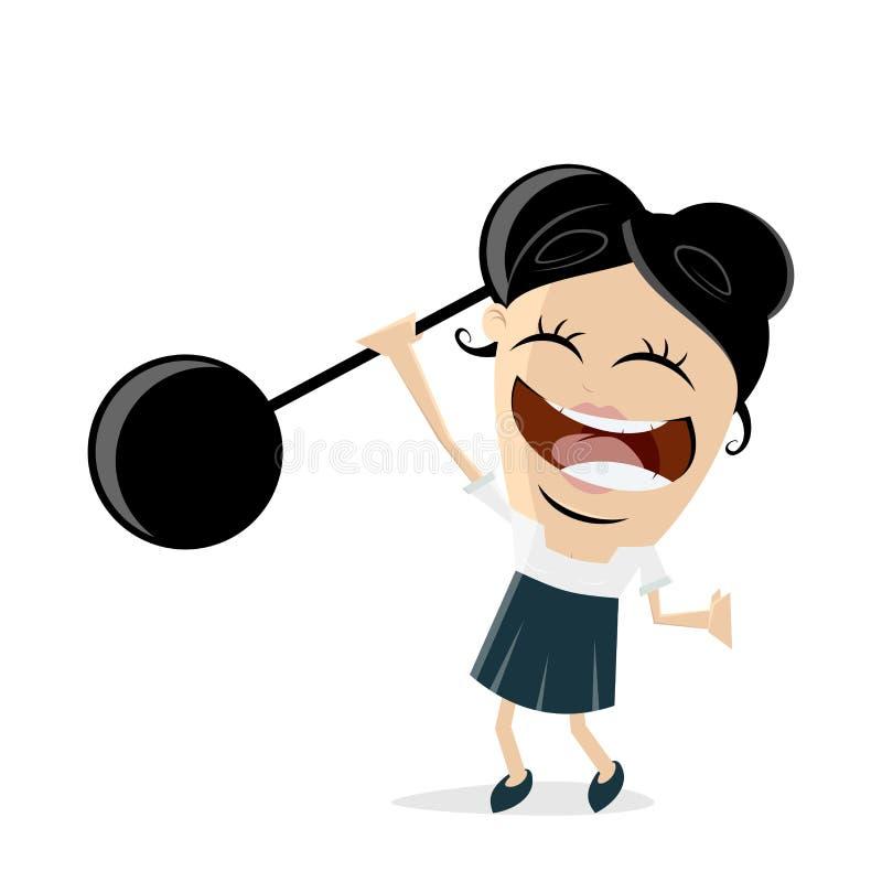 Śmieszni bizneswomanu udźwigu ciężary ilustracja wektor