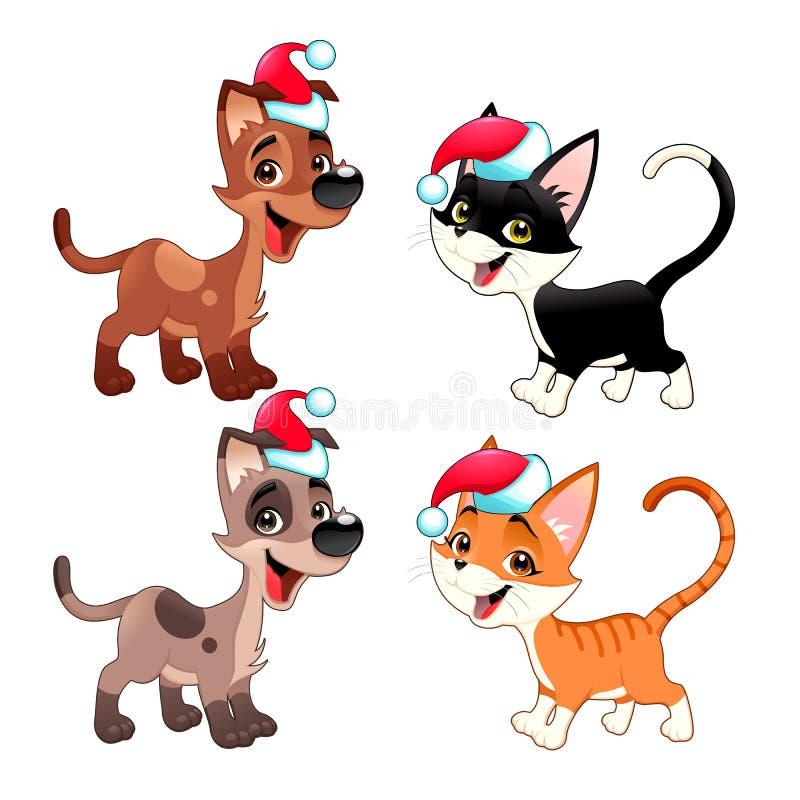 Śmieszni Bożenarodzeniowi pies i kot ilustracja wektor