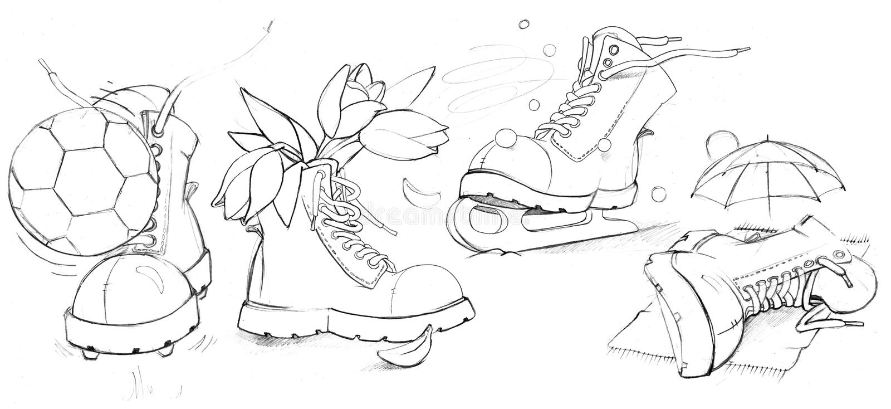 Śmieszni buty royalty ilustracja
