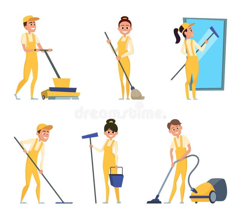 Śmieszni charaktery cleaning lub technik usługa royalty ilustracja