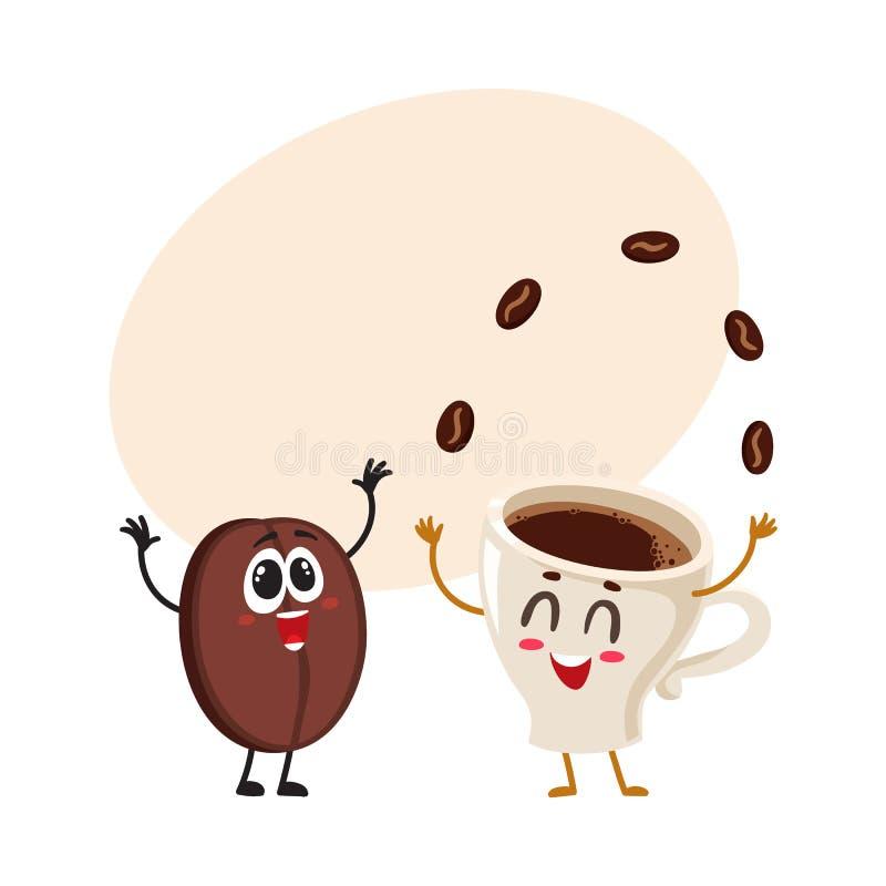 Śmieszni charaktery szalona kawowa fasola i kuglarska kawy espresso filiżanka royalty ilustracja
