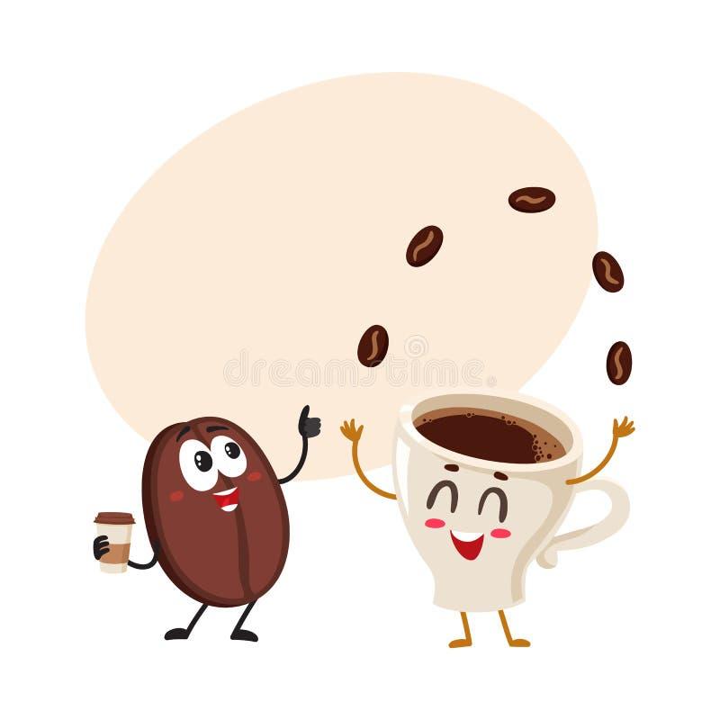 Śmieszni charaktery szalona kawowa fasola i kuglarska kawy espresso filiżanka ilustracja wektor