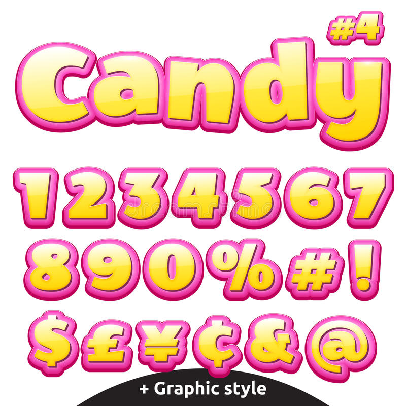 Śmieszni children cukierku listy ustawiający liczy symbole ilustracji