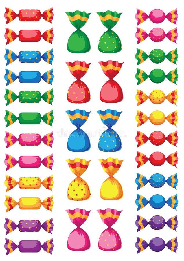 śmieszni cukierków cukierki ilustracja wektor